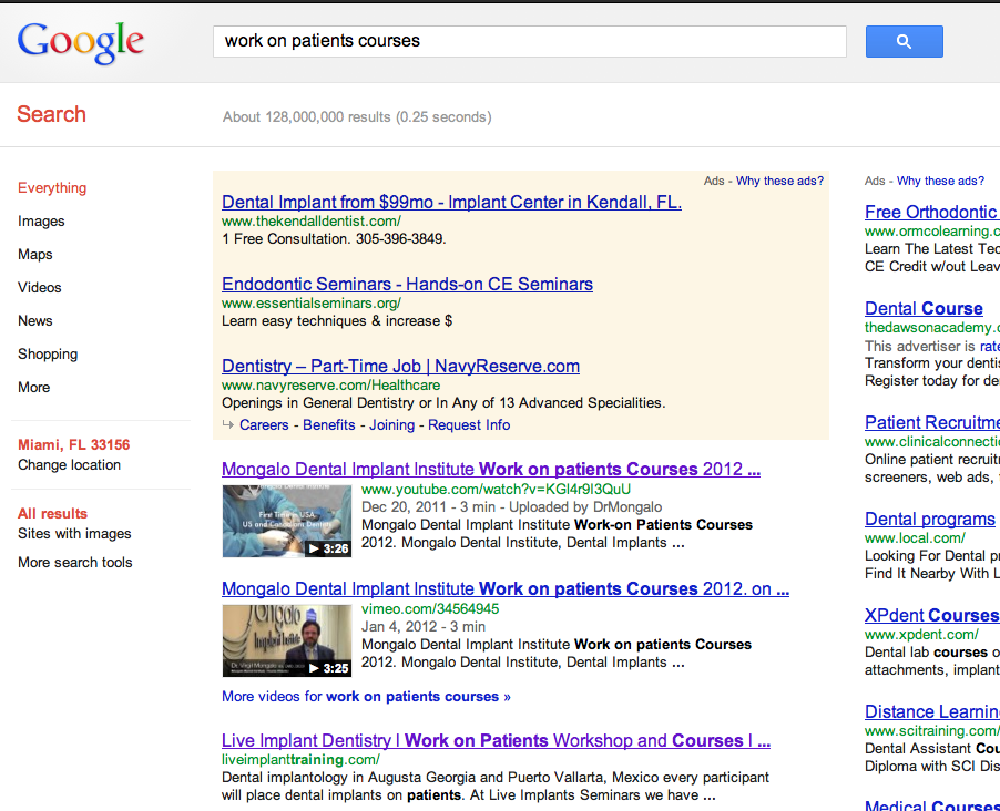 128 millon work on patients courses keyword google